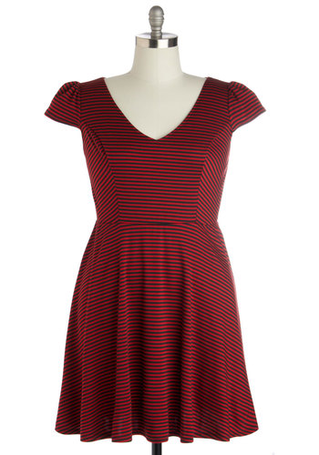 Dock Side of the Moon Dress in Plus Size - Red, Black, Stripes, Casual, Daytime Party, A-line, Cap Sleeves, Short, V Neck, Knit