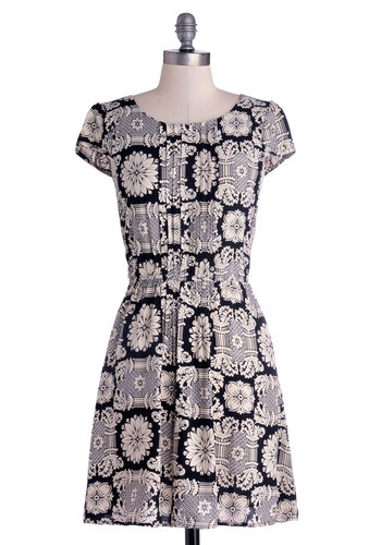 Cultural Columnist Dress - Black, Tan / Cream, Casual, A-line, Cap Sleeves, Good, Scoop, Short, Woven, Print, Pleats, Top Rated