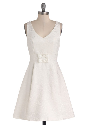 Chills Throughout the Conservatory Dress - White, Bows, Daytime Party, A-line, Sleeveless, Better, V Neck, Knit, Mid-length, Solid, Paisley, Graduation