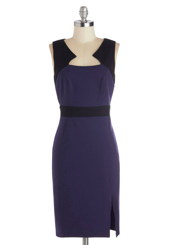 It's a Waterfall Life Dress - Knit, Mid-length, Blue, Black, Work, Sheath / Shift, Sleeveless, Good, Cocktail, Colorblocking