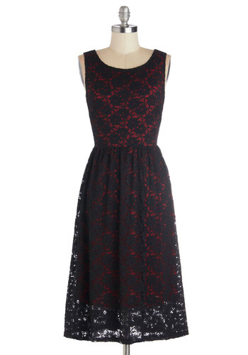 Pure Fulfillment Dress in Cherry - Long, Black, Red, Solid, Lace, Party, Holiday Party, A-line, Sleeveless, Good, Scoop, Variation, Gifts Sale, Lace