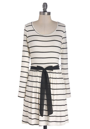 Masterfully Stylish Dress - Cream, Black, Stripes, Cutout, Belted, Casual, Nautical, A-line, Long Sleeve, Good, Scoop, Mid-length, Jersey, Knit