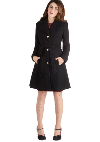 Early to Arrive Coat - 3, Black, Solid, Buttons, Belted, Long Sleeve, Woven, Long, Pockets, Black