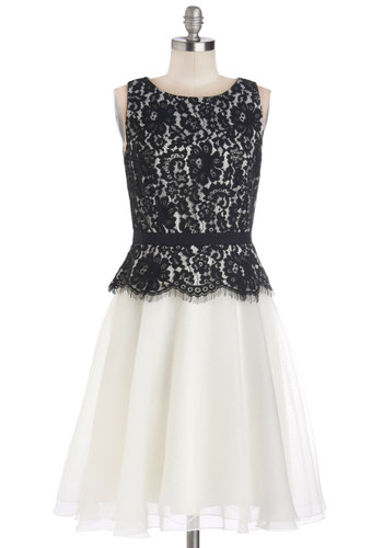 Mesmerizing Masquerade Dress - Black, White, Cutout, Lace, Belted, Special Occasion, Cocktail, Ballerina / Tutu, Twofer, Sleeveless, Crew, Long, Satin, Woven, Bride, 20s, Prom, Wedding, Lace