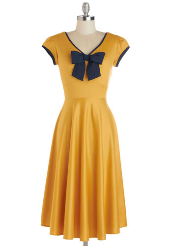 All That and Demure Dress in Daffodil by Stop Staring! - Knit, Yellow, Blue, Bows, Trim, A-line, Cap Sleeves, Better, V Neck, Work, Pinup, Vintage Inspired, 50s, Exclusives, Variation