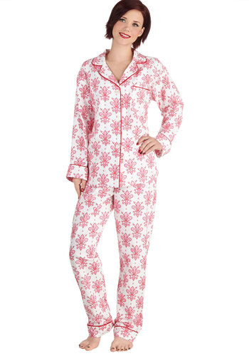Girl of Great Glee Pajamas in Fleur - Pink, White, Novelty Print, French / Victorian, Long Sleeve, Best, Cotton, Woven, Buttons, Pockets, Collared, Variation