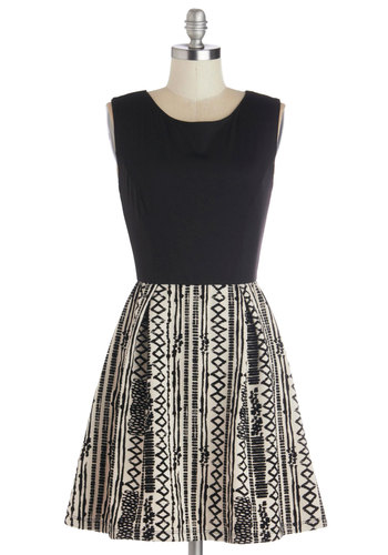 Beloved Hostess Dress - Short, Knit, Black, White, Casual, A-line, Sleeveless, Good, Scoop, Print, Top Rated