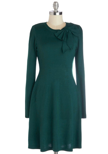 Underpinnings of Style Dress - Mid-length, Knit, Green, Solid, Bows, Casual, A-line, Long Sleeve, Better, Crew, Sweater Dress, Winter