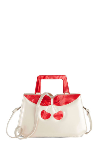 Cherry Pick-Me-Up Bag - Cream, Red, Fruits, Good, Solid, Faux Leather