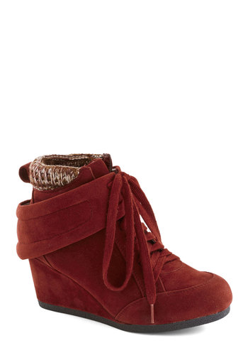Stop Everything and Strut Bootie - Mid, Red, Knitted, Rustic, Winter, Good, Wedge, Lace Up, Casual, Fall