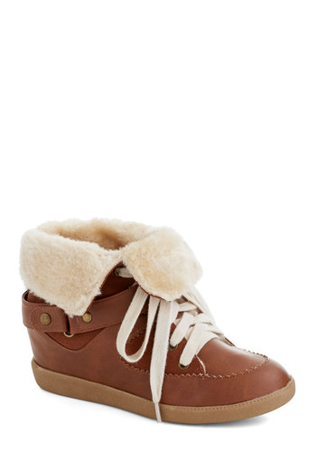 Vail Vacation Sneaker - Low, Faux Leather, Faux Fur, Tan, Tan / Cream, Urban, Rustic, Winter, Good, Wedge, Lace Up