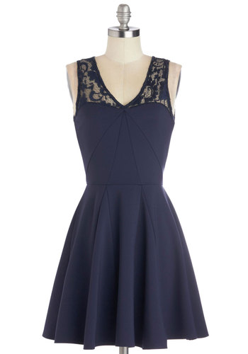 Marvel at Midnight Dress - Mid-length, Sheer, Knit, Blue, Solid, Exposed zipper, Lace, Party, A-line, Tank top (2 thick straps), Better, V Neck, Cocktail