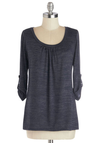 Take a Daybreak Top - Knit, Mid-length, Blue, Buttons, Ruching, Minimal, 3/4 Sleeve, Good, Scoop, Casual, Basic, Blue, Tab Sleeve