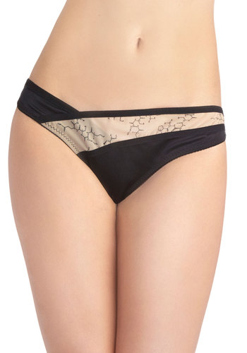 Jane Bond Undies - Black, Novelty Print, Quirky, Exclusives, Sheer, Knit, Tan / Cream