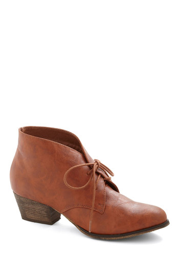 Ain't Life Rio Grande? Bootie by Chelsea Crew - Tan, Solid, Low, Lace Up, Better, Fall, Faux Leather
