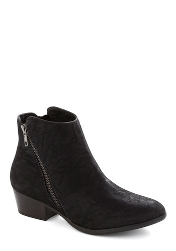 My Fair LA Bootie by Chelsea Crew - Black, Solid, Exposed zipper, Low, Better, Urban, Minimal, Faux Leather
