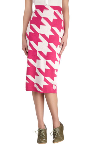 Plenty of Panache Skirt by Pink Martini - Knit, Pink, Houndstooth, Party, Pencil, Long, Pink