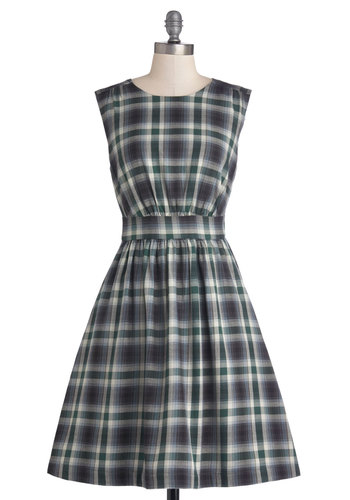 Too Much Fun Dress in Prairie Plaid by Emily and Fin - Basic, Cotton, Knit, Green, Black, Plaid, Casual, A-line, Sleeveless, Better, International Designer, Pockets, Scholastic/Collegiate, Exclusives, Variation, Fall