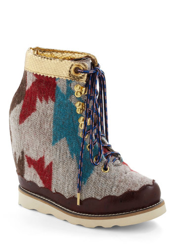 Makes You Say Whoa Bootie by Irregular Choice - Multi, Print, High, Platform, Wedge, Lace Up, International Designer, Leather, Knit, Best, Statement