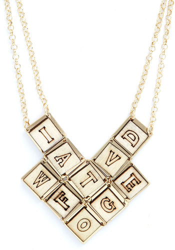 Editor's Letters Necklace - Novelty Print, Better, Gold, Tan, Quirky