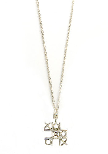 Chic Tac Toe Necklace - Solid, Good, Silver