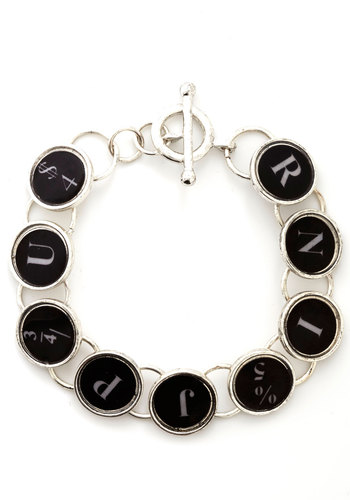Key to My Success Bracelet - Black, Silver, White, Novelty Print, Scholastic/Collegiate