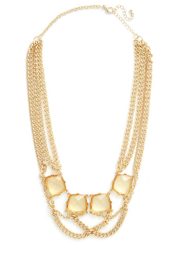 Citron My Mind Necklace - Solid, Chain, Statement, Better, Gold, Yellow, Holiday Party