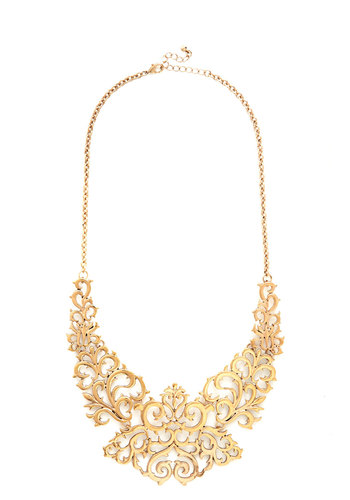 Cusp of Captivating Necklace - Solid, Statement, Good, Gold, French / Victorian