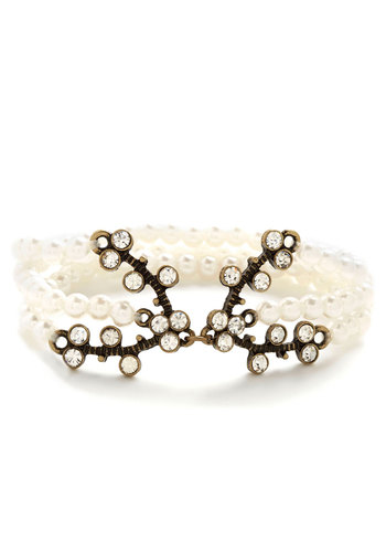 Fancification Bracelet - Cream, White, Solid, Pearls, Rhinestones, Special Occasion, Wedding, Holiday Party, Luxe, Good, Gold, Bride