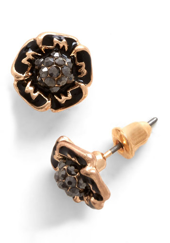 Stylista in the Bloom Earrings - Black, Solid, Flower, Rhinestones, Luxe, Gold, Gifts Sale