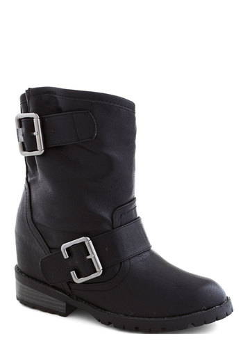 Got You Covert Boot - Low, Faux Leather, Black, Buckles, Urban, Good, Wedge, Solid, Military