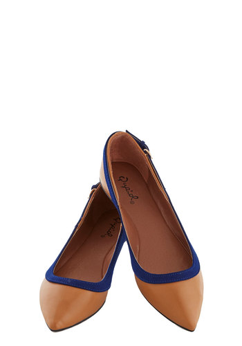 Happy Aura Flat - Flat, Faux Leather, Tan, Blue, Trim, Good, Work