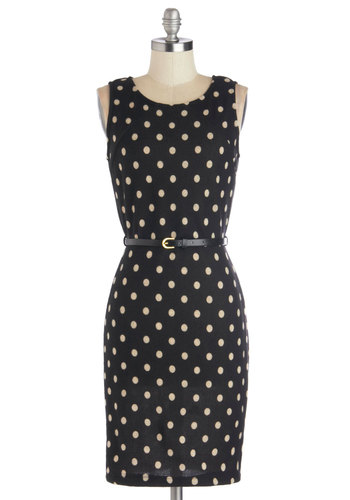 Perfectly Punctuated Dress - Mid-length, Knit, Black, Tan / Cream, Polka Dots, Belted, Work, Sheath / Shift, Tank top (2 thick straps), Scoop