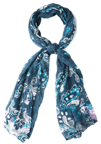 Paisley Pandemonium Scarf in Blue - Blue, White, Paisley, Casual, Boho, Woven, Variation