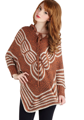Nature Journaling Sweater - Brown, Tan / Cream, Knitted, Casual, Boho, Better, Short, Knit, Orange, Fall, Brown, Long Sleeve
