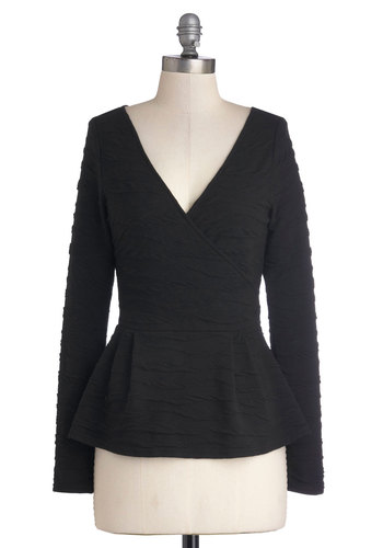 Any Day, Any Way Top - Black, Solid, Long Sleeve, Better, V Neck, Mid-length, Knit, Work, Peplum, Black, Long Sleeve