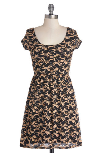 The Pleasure Is All Vine Dress - Black, Tan / Cream, Lace, Party, A-line, Cap Sleeves, Good, Scoop, Sheer, Knit, Embroidery, Short, Gifts Sale