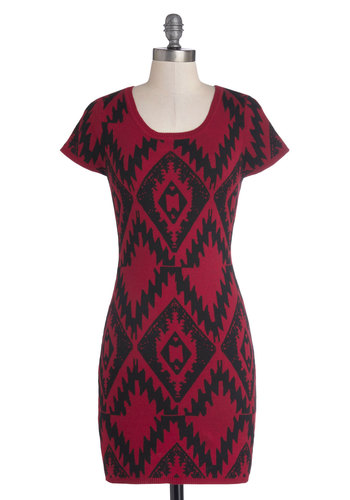 Trendsetting Taste Dress - Short, Cotton, Knit, Red, Black, Print, Casual, Bodycon / Bandage, Short Sleeves, Better, Scoop, Winter