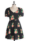 Efflorescent Arrangement Dress - Black, Red, Green, Pink, Floral, Casual, A-line, Short Sleeves, Good, V Neck, Short, Woven