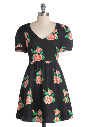 Efflorescent Arrangement Dress - Black, Red, Green, Pink, Floral, Casual, A-line, Short Sleeves, Good, V Neck, Woven, Short