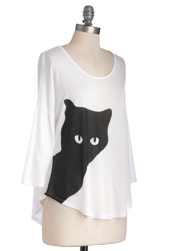 Peek-a-Mew Top - Mid-length, White, Black, Print with Animals, Casual, Halloween, Cats, 3/4 Sleeve, Jersey, Knit, Scoop, White, 3/4 Sleeve