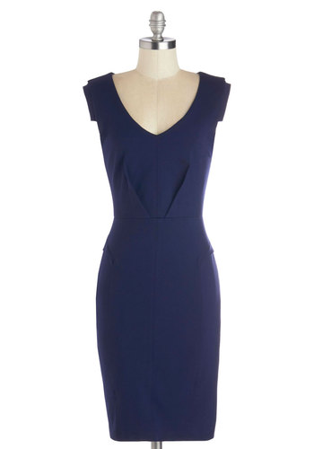 Change with the Clock Dress in Navy - Mid-length, Knit, Blue, Solid, Work, Shift, Good, Cap Sleeves, V Neck, Gifts Sale
