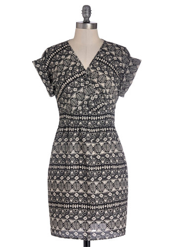 Printmaker's Mark Dress - Mid-length, Woven, Black, White, Print, Casual, Shift, Cap Sleeves, V Neck