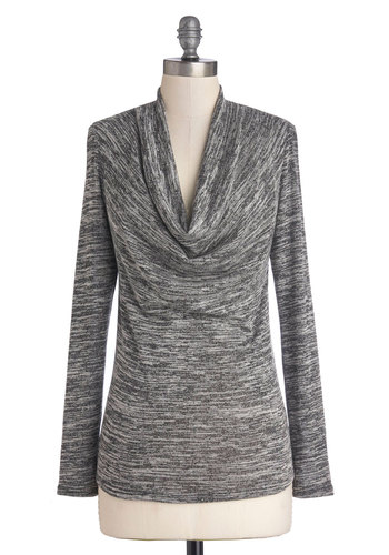 Errand of Excellence Top in Grey - Knit, Grey, Rustic, Long Sleeve, Good, Cowl, Casual, Fall, Grey, Long Sleeve, Mid-length