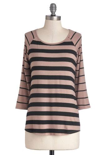 Doing Dandy Top in Taupe - Mid-length, Knit, Tan / Cream, Stripes, 3/4 Sleeve, Good, Scoop, Casual, Variation, Brown, 3/4 Sleeve