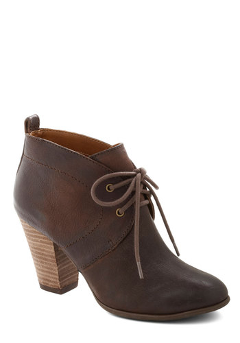 Premier Blend Bootie by Lucky - Solid, Mid, Lace Up, Leather, Better, Brown