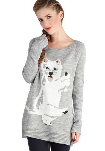 Trickster Treat Sweater by Jack by BB Dakota - Mid-length, Knit, Grey, White, Print with Animals, Casual, Quirky, Long Sleeve, Scoop, Grey, Long Sleeve, Top Rated