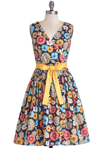 In the Key of Chic Dress in Floral by Bea & Dot - Private Label, Mid-length, Cotton, Woven, Floral, Pockets, Belted, Daytime Party, Fit & Flare, Tank top (2 thick straps), Better, V Neck, Multi, Vintage Inspired, 50s, 60s, Exclusives