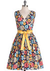 In the Key of Chic Dress in Floral by Bea & Dot - Private Label, Mid-length, Cotton, Woven, Floral, Pockets, Belted, Daytime Party, Fit & Flare, Tank top (2 thick straps), Better, V Neck, Multi, Vintage Inspired, 50s, 60s, Exclusives, Spring