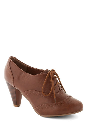 It's All Chic to Me Heel in Cognac - Tan, Solid, Mid, Good, Lace Up, Faux Leather, Work, Vintage Inspired, 20s, 30s, Variation